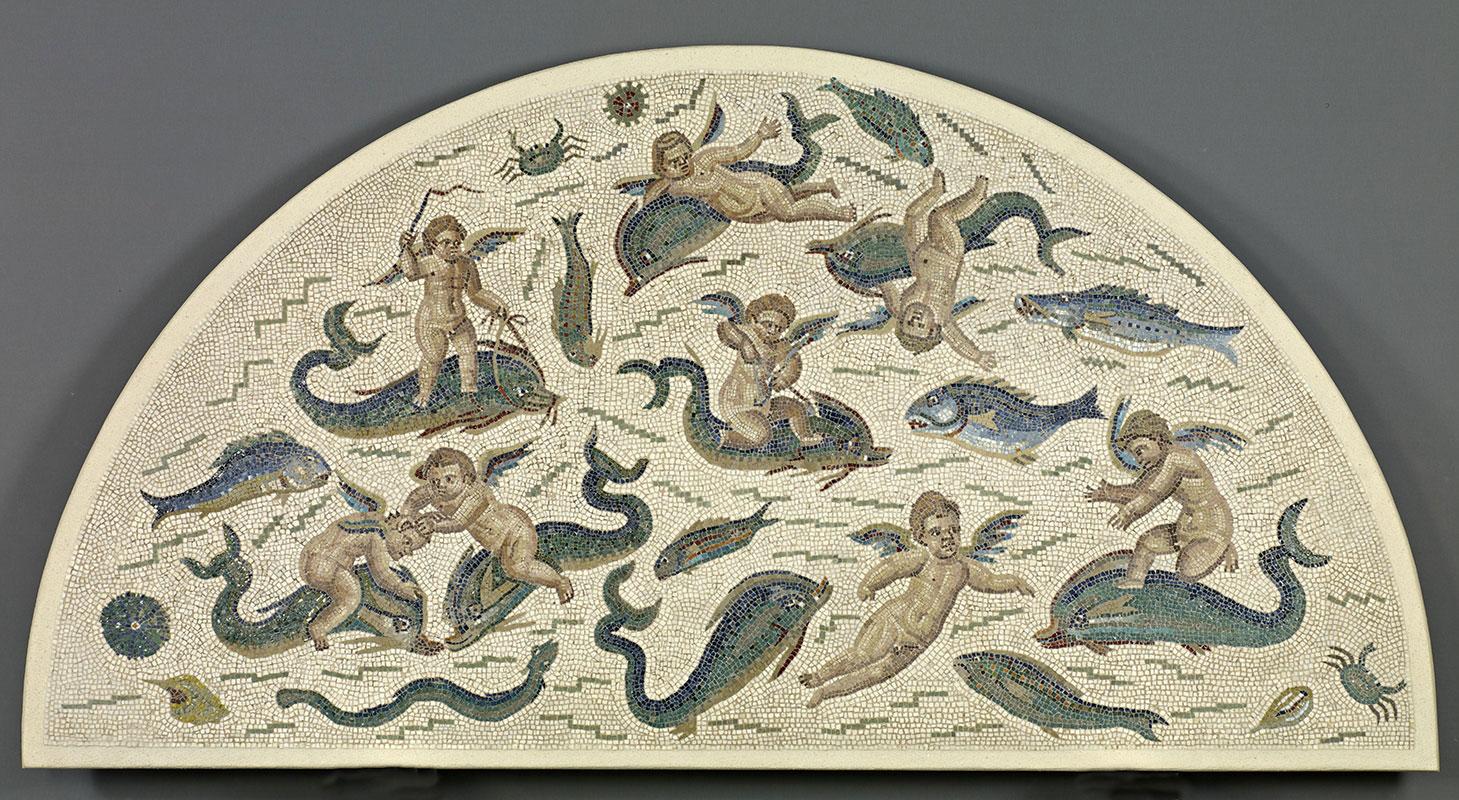 Fragment De Mosaique D Un Decor De Fontaine Enfants Ailes Amours