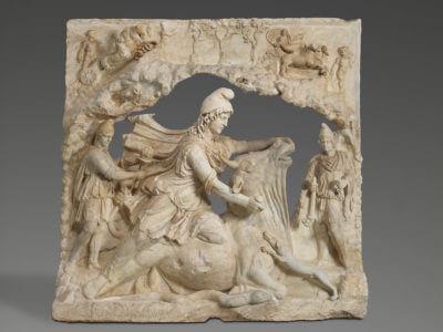 oeuvre MA 1023 MR 818 Louvre Relief représentant Mithra, dieu iranien du Soleil, sacrifiant le taureau Capitole Rome